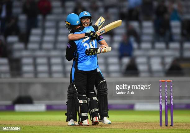 Ed Barnard celebrates with Charlie Morris of Worcestershire after they beat Warwickshire during the Royal London One Day Cup match between...
