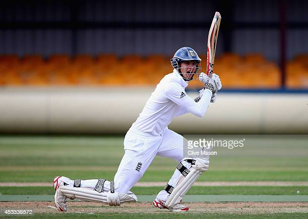 Ed Barnard of England in action batting during day two of the second test match between England U19's and South Africa U19's at The County Ground on...