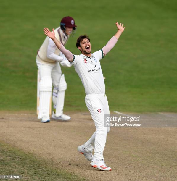 Ed Barnard of Worcestershire appeals and dismisses George Bartlett of Somerset during the Bob Willis trophy match at New Road on September 08, 2020...