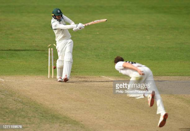 Ed Barnard of Worcestershire bowled by Josh Davey of Somerset at New Road on September 07, 2020 in Worcester, England.