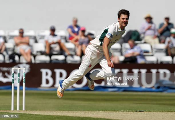 Ed Barnard of Worcestershire bowls during the Specsavers County Championship division two match between Northamptonshire and Worcestershire at The...