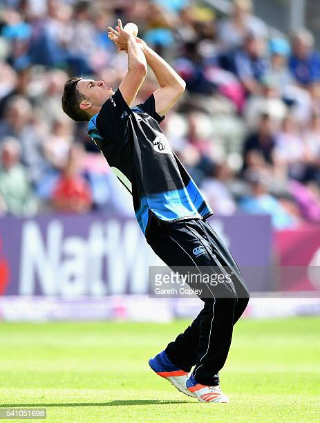 Ed Barnard of Worcestershire catches out Andre Russell of Nottinghamshire during the NatWest T20 Blast match between Worcestershire and...