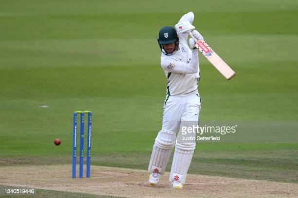 Ed Barnard of Worcestershire plays a shot during the LV= Insurance County Championship match between Middlesex and Worcestershire at Lord's Cricket...