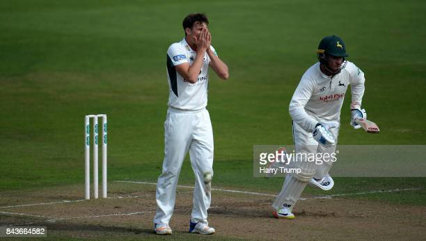 Ed Barnard of Worcestershire unsuccessfully appeals for the wicket of Brendan Taylor of Nottinghamshire during Day Three of the Specsavers County...