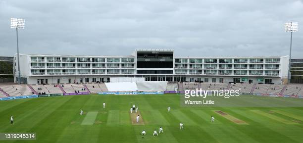 Ed Barnes of Leicestershire bowls to Liam Dawson of Hampshire during the LV=Insurance County Championship match between Hampshire and Leicestershire...