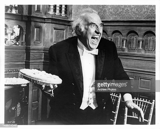 Ed Begley about to throw pie in a scene from the film 'The Unsinkable Molly Brown' 1964