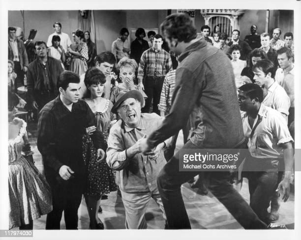 Ed Begley has heart attack in front of Hank Williams Jr and D'Urville Martin in a scene from the film 'A Time to Sing' 1968