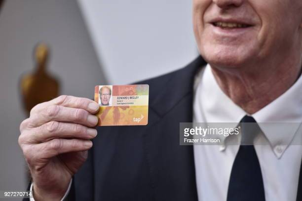 Ed Begley Jr Metro card detail attends the 90th Annual Academy Awards at Hollywood Highland Center on March 4 2018 in Hollywood California