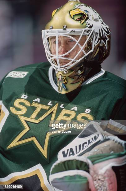 Ed Belfour, Goalkeeper for the Dallas Stars looks on tending goal during the NHL Eastern Conference Atlantic Division game against the New Jersey...