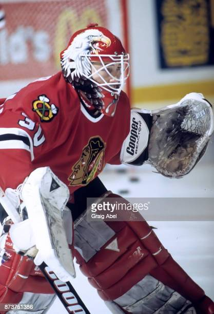 Ed Belfour of the Chicago Black Hawks skates against the Toronto Maple Leafs during NHL game action on December 20 1995 at Maple Leaf Gardens in...