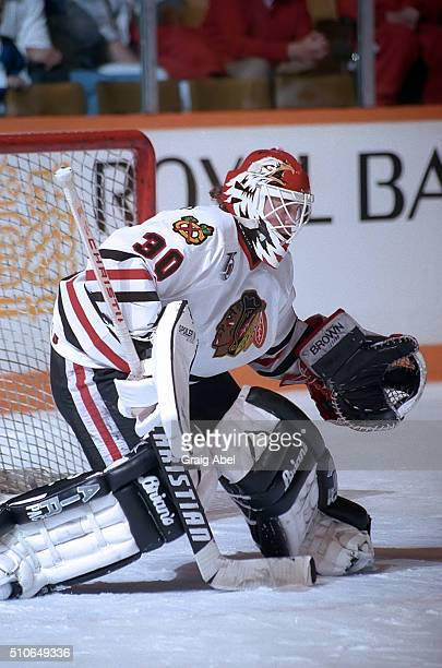 Ed Belfour of the Chicago Black Hawks skates in warmup prior to a game against the Toronto Maple Leafs on February 29 1992 at Maple Leaf Gardens in...