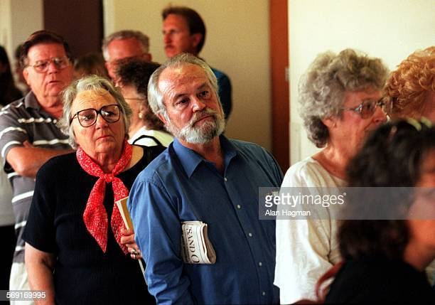 Ed Bigler of Thousand Oaks, a regular Diana Haun trial watcher, anxiously waits outside the courtroom for one of only 16 seates made availible for...
