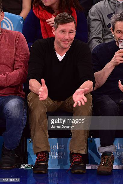 Ed Burns attends the Sacramento Kings vs New York Knicks game at Madison Square Garden on March 3 2015 in New York City