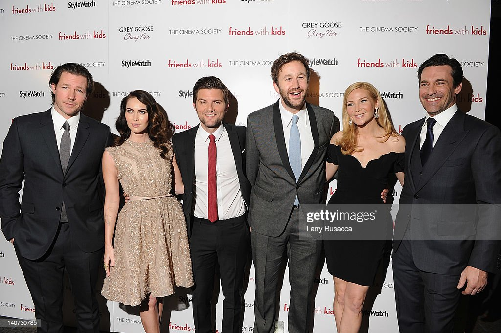 Ed Burns, Megan Fox, Adam Scott, Chris O'Dowd, director Jennifer Westfeldt and actor Jon Hamm attend the Cinema Society & People StyleWatch with Grey Goose screening of 'Friends With Kids' at the SVA Theater on March 5, 2012 in New York City.