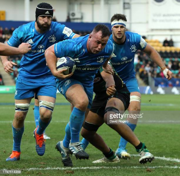 Ed Byrne of Leinster charges upfield to score the final try during the Heineken Champions Cup Round 3 match between Northampton Saints and Leinster...