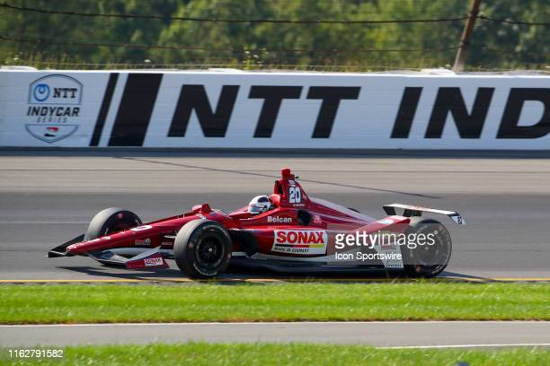 Ed Carpenter driver of the Ed Carpenter Racing Chevrolet drives during the IndyCar Series ABC Supply 500 on August 18 2019 at Pocono Raceway in Long...