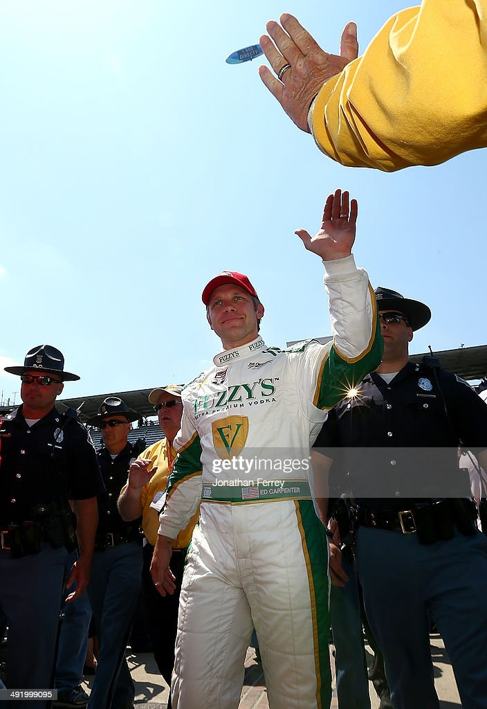 Ed Carpenter, driver of the #20 Fuzzy's Vodka Ed Carpenter Racing Chevrolet Dallara celebrates after winning the pole position for the 98th Indianapolis 500 Mile Race on May 18, 2014 at the Indianapolis Motor Speedway in Indianapolis, Indiana.