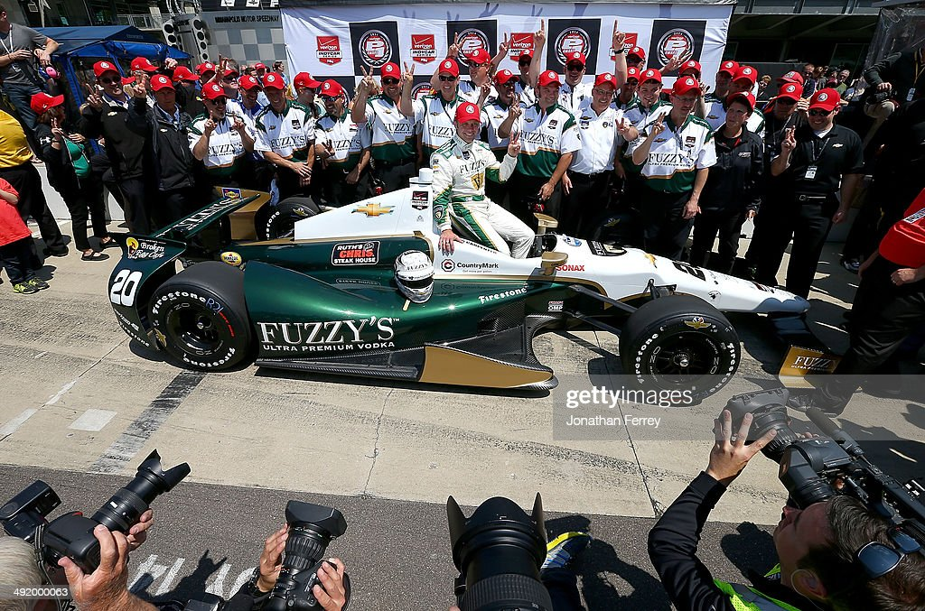 Ed Carpenter, driver of the #20 Fuzzy's Vodka Ed Carpenter Racing Chevrolet Dallara poses for a photo after winning the pole position for the 98th Indianapolis 500 Mile Race on May 18, 2014 at the Indianapolis Motor Speedway in Indianapolis, Indiana.