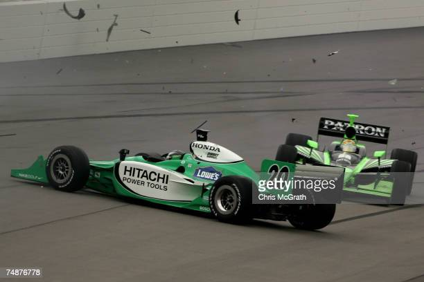 Ed Carpenter driver of the Hitachi Power Tools/Vision Racing Dallara Honda spins after a multi car restart accident that involved Danica Patrick Sam...