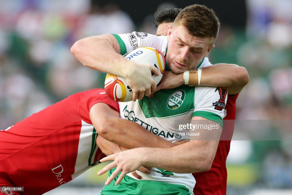 Ed Chamberlain of Ireland is tackled during the 2017 Rugby League World Cup match between Wales and Ireland at nib Stadium on November 12, 2017 in Perth, Australia.