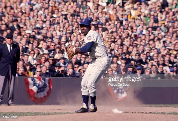 Ed Charles third baseman for the New York Mets poised to throw the ball during the World Series against the Baltimore Orioles at Shea Stadium on...