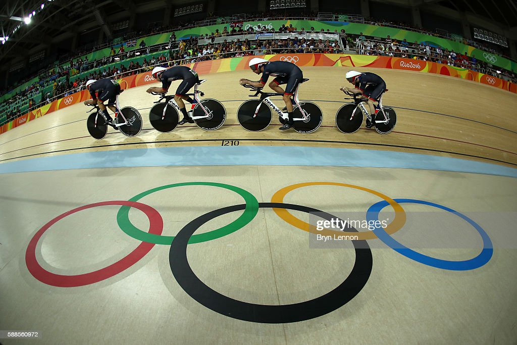 Ed Clancy, Steven Burke, Owain Doull and Sir Bradley Wiggins of Great Britain compete in the Men's Team Pursuit qualifying on Day 6 of the 2016 Rio Olympics at Rio Olympic Velodrome on August 11, 2016 in Rio de Janeiro, Brazil.