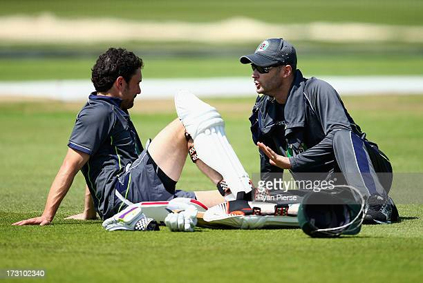 Ed Cowan and Michael Clarke of Australia talk during an Australian Training Session at Trent Bridge on July 7 2013 in Nottingham England