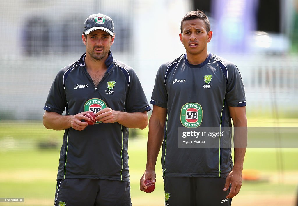 Ed Cowan and Usman Khawaja of Australia look on during an Australian Nets Session at Lord's Cricket Ground on July 17, 2013 in London, England.
