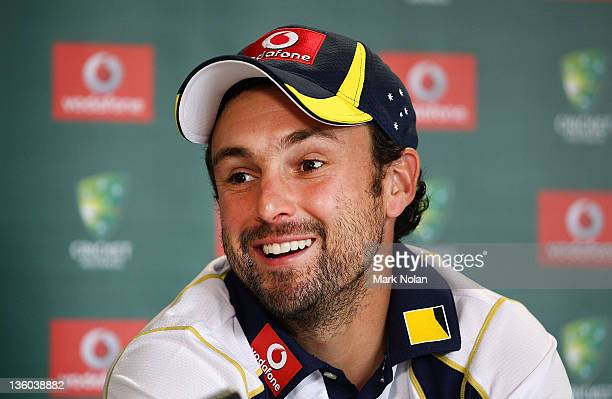 Ed Cowan fronts a press conference after being named in the Boxing Day test team during day three of the International Tour match between India and...