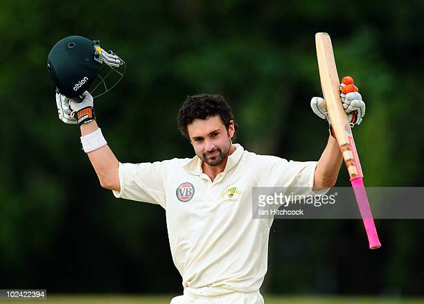Ed Cowan of Australia A celebrates scoring a century during day two of the test match between Australia A and Sri Lanka A at Tony Ireland Stadium on...