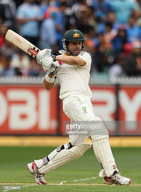 Ed Cowan of Australia bats during day one of the First Test match between Australia and India at the Melbourne Cricket Ground on December 26, 2011 in...