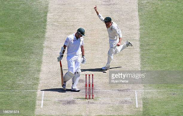 Ed Cowan of Australia celebarates after James Pattinson of Australia claimied the wicket of Graeme Smith of South Africa during day five of the First...