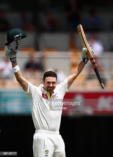 Ed Cowan of Australia celebrates after reaching maiden test century during day four of the First Test match between Australia and South Africa at The...