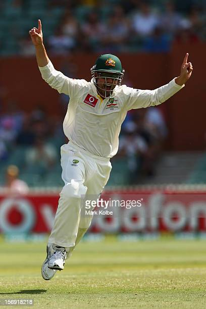 Ed Cowan of Australia celebrates catching Jacques Rudolph of South Africa during day four of the Second Test Match between Australia and South Africa...