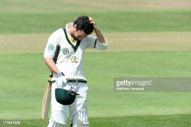Ed Cowan of Australia leaves the field after being caught out for 46 at The County Ground on June 29 2013 in Taunton England