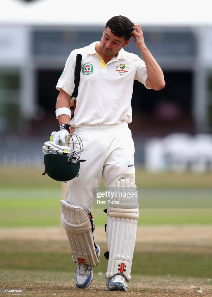 Ed Cowan of Australia looks dejected after being dismissed by Lewis Hatchett of Sussex during Day One of the Tour Match between Sussex and Australia at The County Ground on July 26, 2013 in Hove, England.