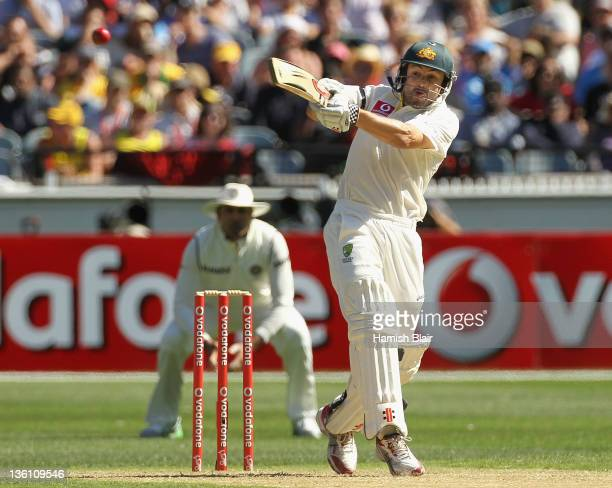 Ed Cowan of Australia pulls during day one of the First Test match between Australia and India at Melbourne Cricket Ground on December 26, 2011 in...