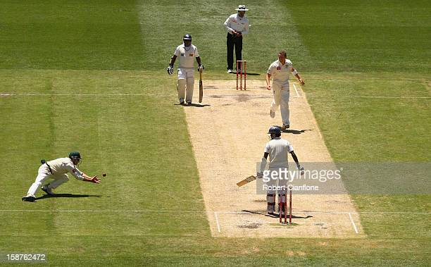 Ed Cowan of Australia takes a catch to dismiss Shaminda Eranga of Sri Lanka to give Australia victory during day three of the Second Test match...