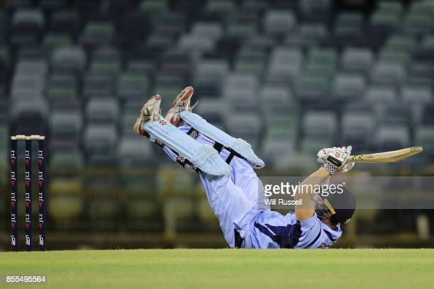 Ed Cowan of NSW ducks under a ball from Jhye Richardson of WA during the JLT One Day Cup match between New South Wales and Western Australia at WACA...