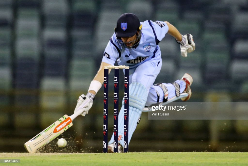 Ed Cowan of NSW runs for the crease during the JLT One Day Cup match between New South Wales and Western Australia at WACA on September 29, 2017 in Perth, Australia.