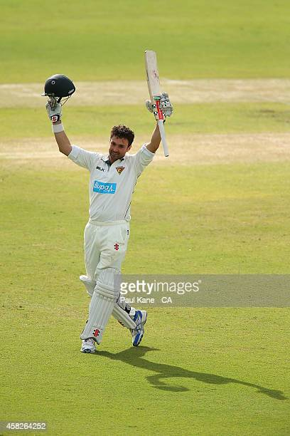 Ed Cowan of Tasmania celebrates his century during day three of the Sheffield Shield match between Western Australia and Tasmania at WACA on November...