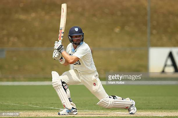 Ed Cowan of the Blues bats during day three of the Sheffield Shield match between New South Wales and South Australia at Coffs Harbour International...