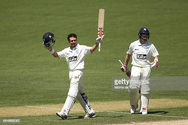 Ed Cowan of the Blues celebrates after reaching 100 runs during day three of the Sheffield Shield match between South Australia and New South Wales...