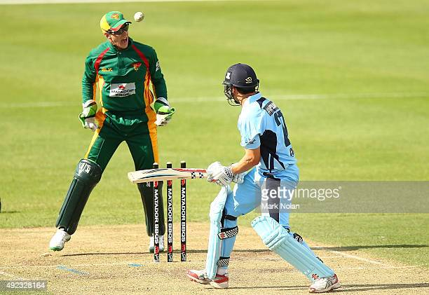 Ed Cowan of the Blues is bowled by Xavier Doherty of the Tigers during the Matador BBQs One Day Cup match between Tasmania and New South Wales at...