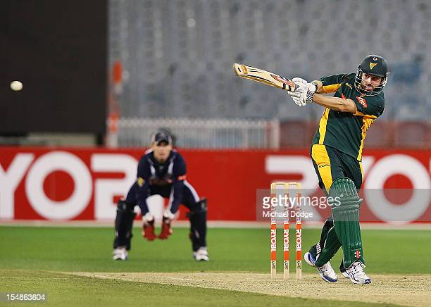 Ed Cowan of the Tigers bats during the Ryobi One Day Cup match between Victorian Bushrangers and the Tasmanian Tigers at Melbourne Cricket Ground on...