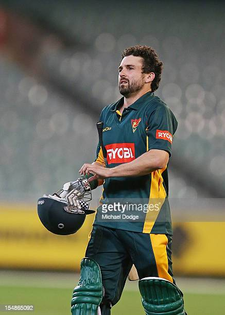 Ed Cowan of the Tigers reacts after being dismissed during the Ryobi One Day Cup match between Victorian Bushrangers and the Tasmanian Tigers at...