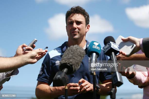 Ed Cowan speaks to the media during a press conference announcing his retirement at Sydney Cricket Ground on March 7 2018 in Sydney Australia