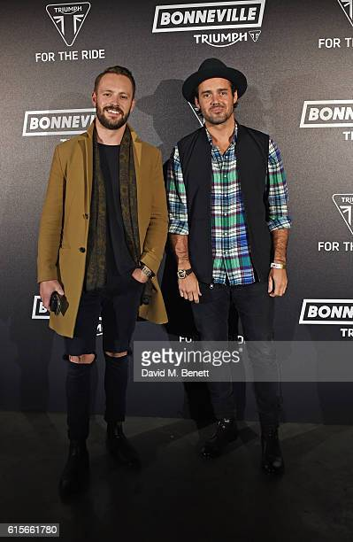 Ed Cozzi and Spencer Matthews attend the Global VIP Reveal of the new Triumph Bonneville Bobber on October 19 2016 in London England