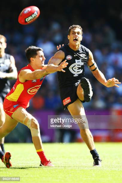 Ed Curnow of the Blues kicks the ball during the round two AFL match between the Carlton Blues and the Gold Coast Suns at Etihad Stadium on March 31...