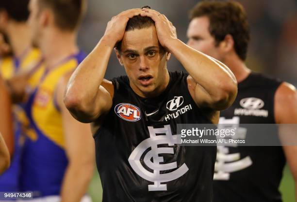 Ed Curnow of the Blues looks dejected after a loss during the 2018 AFL round five match between the Carlton Blues and the West Coast Eagles at the...